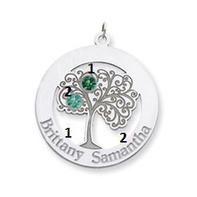 personalized oval family tree pendant