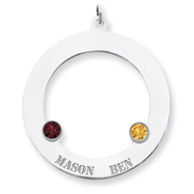 personalized open circle family pendant