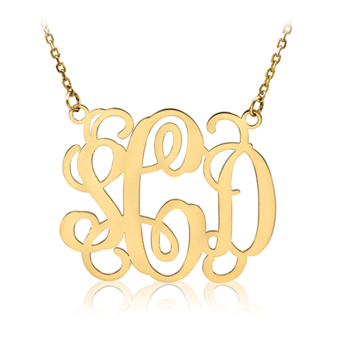 gold plated script mongram necklace