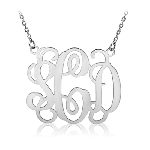 silver script monogram necklace