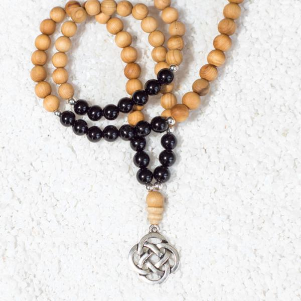 onyx sandalwood mala necklace