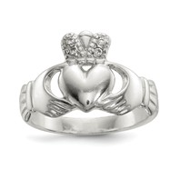 View: Polished CZ Claddagh Ring