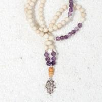 amethyst riverstone mala necklace