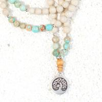 blue jasper riverstone mala necklace
