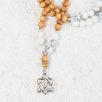 howlite sandalwood mala necklace