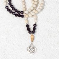 onyx riverstone mala necklace